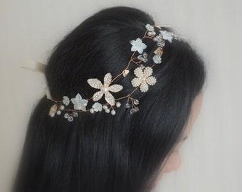 Sabrina - Vintage style Mother Pearl Flower Bridal Hair Vine, Tiara