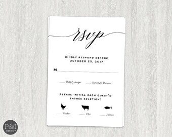 RSVP Card | Printable Digital File | Customizable | Wedding or Rehearsal Dinner 3.5 x 5