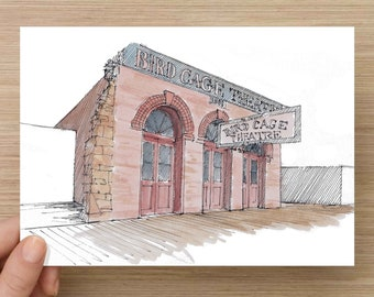Ink and Watercolor Drawing of historic Birdcage Theater in Tombstone Arizona - Architecture, Wild West, Sketch, Art, Pen and Ink, 5x7, 8x10