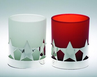 Set of 2 Noble Tealight Holder - Star-silver plated