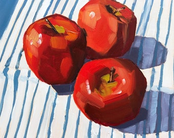 Still life painting- Three Amigos - 6x6 apple oil painting by Sharon Schock