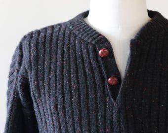 Vintage Mens Knit Pull Over Jumper Sweater, Button Up Pull Over