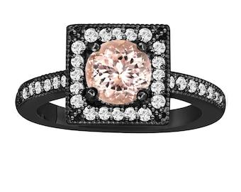 Morganite & Diamonds Engagement Ring 1.23 Carat Vintage Style 14K Black Gold Halo  Handmade