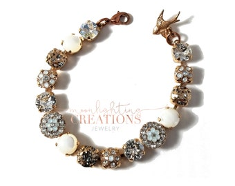 Beautiful Rose Gold Crystal Bracelet, Swarovski Bracelet, Elegant, Hollywood Glamour, Estate