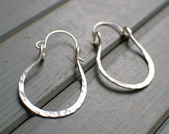 Horseshoe earrings sterling silver hoop earrings equestrian jewelry cowgirl earrings large hammered silver horse jewelry metal work 1 inch