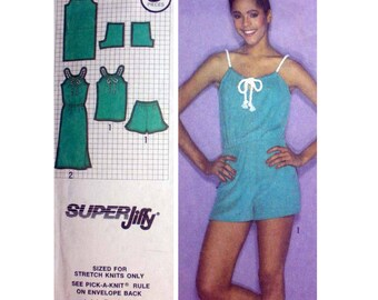 Women's Pullover Dress or Tank Top and Shorts Sewing Pattern Misses Size 10 Vintage Super Jiffy Simplicity 9460