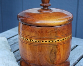 Vintage Rare One Of A KInd Black Walnut Lidded Container