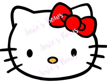 Hello Kitty Face Cut Cutting File - .SVG .Jpg and/or .Png and Silhouette Studio , Cricut, Cutter, Vinyl, HTV