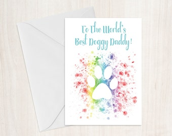 Funny Doggy Daddy Birthday Card, Kitty Daddy, Step Father Card, Fathers Day Card, Pet Father Day, Animal Dad, Dog Dad, Cat Dad, Dog Lover