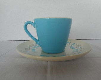 Blue Heaven by Royal China USA...Tea/Coffee Cups and Saucers..Abstract Aqua Blue & Grey...Vintage...1950's...Atomic..Mid Century Modern