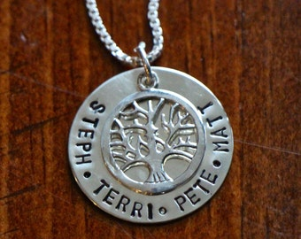 Family Tree Personalized Name Necklace- Sterling Silver- Hand Stamped- Child's Name- Mom Necklace- Grandmother's Necklace- Christmas Gift