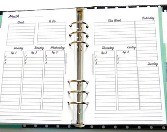 A5 / Half Letter Inserts - Top 3 Planner Inserts - Daily Checklist Inserts - Vertical Planner Inserts - Weekly Goal Inserts