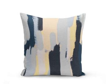 Yellow Navy Pillow Cover, Cushion Cover, Abstract Art, Yellow Navy Grey , Decorative Throw Pillow Cover