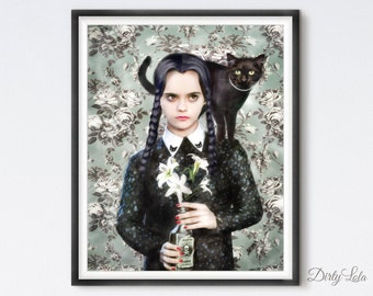 Wednesday - Gothic - Portrait - Illustration - Art Print - Fan Art  - Cat Art - Black Cat