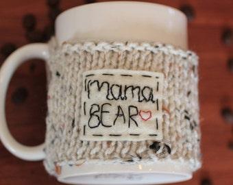 Hand Knit Cup Cozy Mama Bear