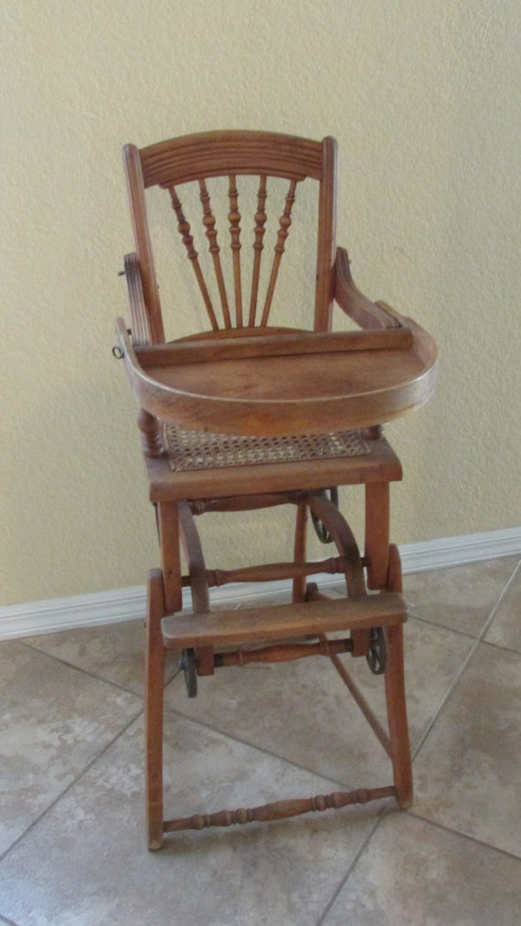 - Antique Chichester Convertible High Chair And Stroller