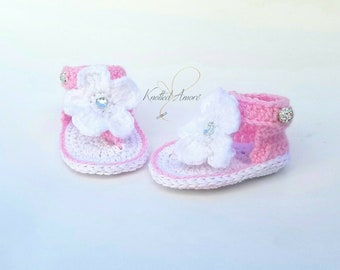 Crochet baby sandals, gladiator sandals, baby girl slippers, baby booties, shoes, white, pink, gift for baby, summer shoes