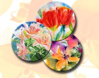 SPRING FLOWERS -  Printable Digital Collage Sheet 12 X 3.5 inch circles for Coasters, Greeting Cards, Gift Tags.  Instant Download #122.
