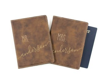 Personalized Passport Cover - Mr and Mrs Passport Holder - Wedding Gift - Leatherette Passport Wallet - Custom His & Hers - Bridal Shower