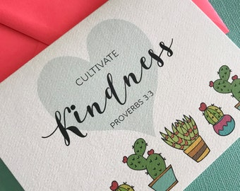 Cultivate Kindness Proverbs 3:3 greeting card, inspirational, friendship, encouragement, love, bible verse