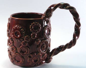 Steampunk mug, stein, hardware, cup, coffee, tea, nuts, bolts, metal