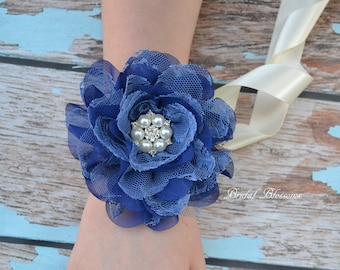 Royal Blue Chiffon Lace Flower Wrist Corsage | Vintage Inspired Wedding Corsage | Elegant Wedding | Mother of the Bride | Prom Homecoming