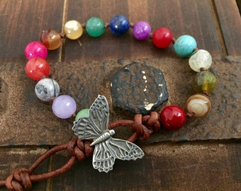 Chakra Leather Beaded Bracelet with Butterfly Girlfriend Gift gemstone jewelry boho bohemian gifts for her
