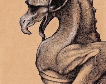 Gargoyle Pen & Ink Drawing Illustration Art Print Gothic Print