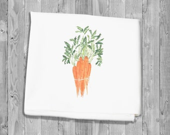 Flour Sack Kitchen Towel - bunch of carrots