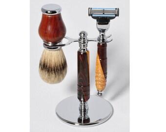 Razor set, shaving set, razor handle, badger brush, cocobolo razor, shaving razor, Mach 3, Fusion, razor shaving