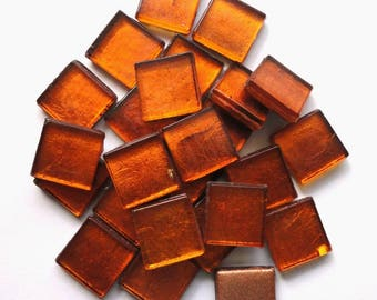 "15mm (3/5"") Burnt Orange Metallic Foil Backed Glass Mosaic Tiles//Mosaic//Mosaic Supplies/Crafts"