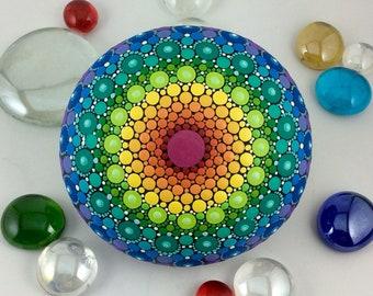 Rainbow Mandala Stone (Medium)