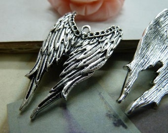 10 Huge Angel Wings Charm Antique Silver Tone
