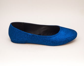 Glitter | Sapphire Blue Ballet Flat Slipper Custom Shoes