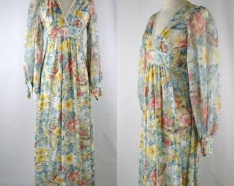 1970s Pastel Watercolor Floral Print Empire Waist, Floor Length, Maxi Dress, Angel Sleeves