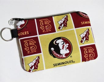 Handmade small pouch with zipper - split key ring - Florida State - Seminoles - NCAA - coin purse credit cards - fan gift - gift for her