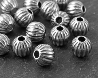Sterling Silver Oxidised Corrugated Bead 6mm