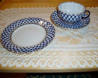 Lomonosov Cobalt Net Cup and Saucer and Dessert Plate