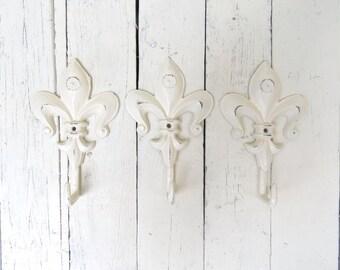 Fleur De Lis Hooks, Key Hooks, Towel Hooks, Coat Hooks, Ivory Hooks, Paris Apartment, French Inspired, Shabby Cottage Chic, Rustic Decor