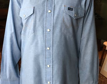 Vintage Wrangler Pearlsnap Button-up Blue Jean Denim