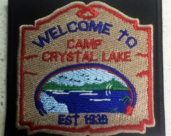 """Friday The 13th """"Camp Crystal Lake sign"""" patch Jason Voorhees slasher"""