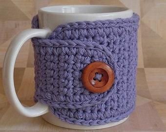 Lilac Cup Cozy, Crochet Mug Cozy, Tea Gift, Coffee Gift, Office Gift, Teacher Gift