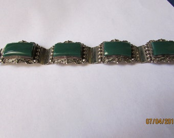 Sterling Silver and Green Stone Link Bracelet from Mexico