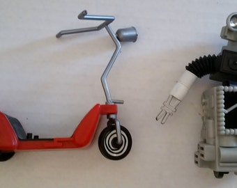 PEE WEE HERMAN Vintage Conky Wind Up Toy & Pee Wee Bicycle Scooter 1988 Matchbox Paul Reubens Pee Wee's Playhouse Big Adventure Kids 80's Tv