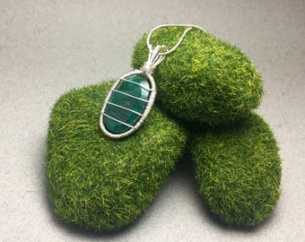 Green Beryl Wire Wrapped Pendant