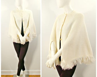 Vintage Sweater Cape, 60s 70s Fringed Sweater Knit Cape Poncho, Button Front Creamy White Knit Cape with Fringe
