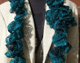 Teal Ruffled Hand-Crocheted Scarf with Sequins
