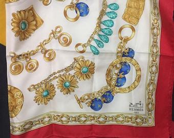RARE!!! Vintage HERMES Paris Silk Scarf Authentic Hand Rolled White Color
