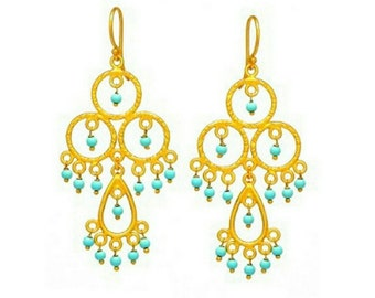 18K gold vermeil faceted turquoise beads drop dangle chandelier earrings, 925 sterling silver