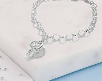 Sterling Silver memorial heart, infinity knot and birthstone bracelet
